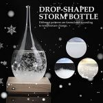 Delaman Storm Glass, Storm Glass en Forme de Goutte Storm Bottle Desktop Weather Station Predictor avec LED Wood Base (M) Desktop Decoration