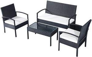EBS My Furniture Ensemble de meubles d'extérieur en rotin pour jardin, terrasse, véranda, canapé, table basse, chaises – Coussin Crème