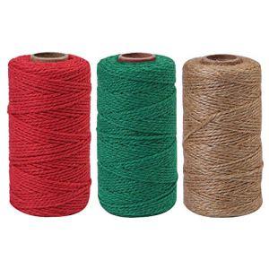 Elcoho Lot de 3 rouleaux de ficelle de Noël épaisse en jute pour bricolage et emballage Color A