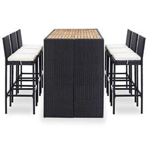 Ensemble de bar de jardin 7 pièces en polyrotin et acacia massif, 1 table basse, 6 tabourets de bar et 6 coussins d'assise, durable et facile à nettoyer