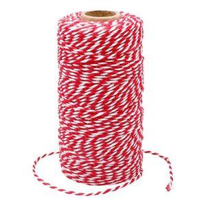 G2PLUS 100M Ficelle Rouge et Blanche Corde de Noël Rouge Ficelle de Noël Rouge Ficelle de Coton Durable pour la Cuisson, Les Bouchers, Les Bricolages, L'emballage de Cadeaux de Noël
