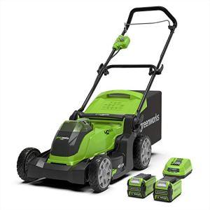 Greenworks Tondeuse à gazon sans fil sur batterie 41cm 40V Lithium-ion avec 2 batteries 2Ah et chargeur – 2504707UC