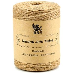 H&S Jute Twine String 600 Feet 6ply 3mm Thick Strong Natural Jute Rope Roll stronger than 3ply for Floristry Garden Gifts