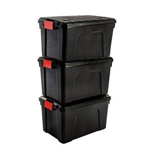 Iris Ohyama SIA-60, Set- 3 Boites de Rangement Bricolage – Store It All- 60L, Noir et Rouge, 59 x 39,5 x 35,5 cm, Plastique