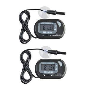 JZK 2 x Petit Thermomètre Numérique d'aquarium avec Ventouses & Sonde et Batterie, LCD Thermomètre d'Aquarium pour Aquarium Marin, Incubateur, Réservoir de Reptiles