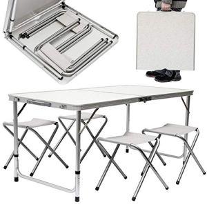 KZKR Table Pliante 120x60x70 cm Table de Pique-Nique Table de Jardin Table de Camping Table Pliante Portable avec 4 chaises (Blanc) L184