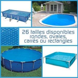 Linxor France ® Bâche à bulles ronde, ovale ou rectangle 180 microns pour piscine intex ou autre… / 26 tailles disponibles / Norme CE
