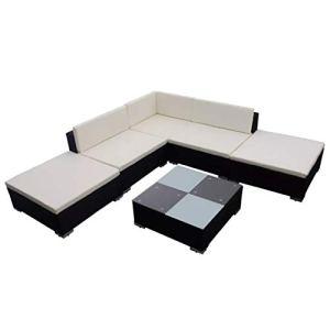 Lot de 6 canapés de jardin en polyrotin noir avec coussins pour canapé extérieur, résistant aux rayons UV, imperméable, structure revêtue de poudre + pieds en plastique