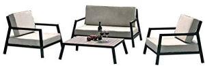 mds Salon de Jardin Italia : Un Ensemble en Aluminium laqué Noir, pour Les Petits espaces – 1 Sofa Deux Places, 2 fauteuils et 1 Table Basse.