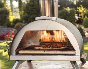 Megashopitalia Four à pizza Bi-Fuel Gaz Bois Granulés en acier inoxydable Pierre réfractaire 500°
