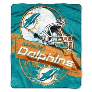 Miami Dolphins 127x 152,4cm Royal en peluche Couvre-lit Motif couverture–Grandstand Motif