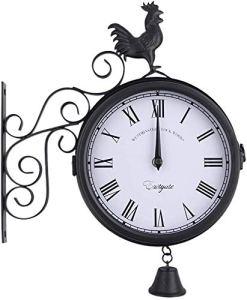 nakw88 Horloge Murale Extérieur Suspendu et Ancien Décoratif Rétro Jardin Temps Double Faces Vintage Quartz Fer Art