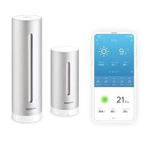 Netatmo Station Météo Intérieur Extérieur Connectée Wifi pour Smartphone – Capteur Sans fil – Thermomètre, Hygromètre, Baromètre, Sonomètre, Qualité de l'air – Compatible avec Amazon Alexa