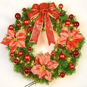 Noël grande guirlande Arbre de Noël décorations festives porte ornements rotin gravé de luxe (Couleur : Rouge, taille : 60 cm)