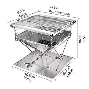 Portable extérieur en Acier Inoxydable Pliant Barbecue , pour Camping Grill Grand pour la randonnée Camping Survie Barbecue