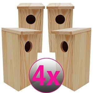 PROHEIM Nichoirs pour oiseaux SETx4 en bois 22cm – Mangeoire idéal pour mésanges, mésanges charbonnière, rouges-queues et d'autres petits oiseaux