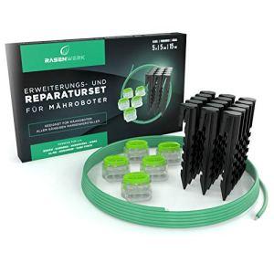 RASENWERK® Kit de réparation de câble de délimitation pour robot tondeuse – Piquets avec forme brevetée – Bornes de raccordement avec garnissage en gel imperméable – Câble de délimitation universel