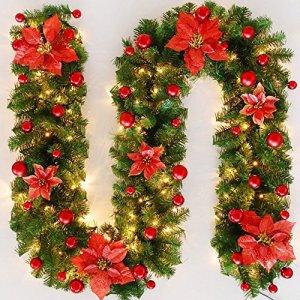 Rattan 2,7 mètres ornements suspendus de luxe chiffrés Arbre de Noël décorations festives batterie or couronnes rouges ( Couleur : Rouge , taille : 2.7m )