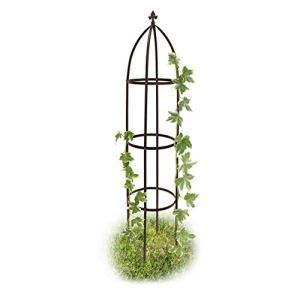 relaxdays Arceau Arche rosiers pergola Obélisque de Jardin Support tuteur métal Colonne pour Plantes grimpantes 190 cm, Marron