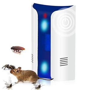 Répulsif Ultrason Anti Rongeur Insectes, Double Corne 24KHz~74KHz Fréquence Changer Avec Lumières Effrayantes Répulsif Antiparasitaire pour Occasions Polyvalentes Anti Rats, Souris, Fourmis, Cafards