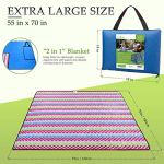 Roebury Picnic Blanket – Portable Outdoor Mat Folds Into Tote Bag – Water-Resistant, Sandproof – Large Rug Perfect for Camping, Beach, Festivals, Kids & Babies (Wave Design)