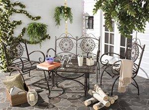 Safavieh Outdoor Collection Sophie Salon de jardin 4 pièces Blanc antique marron rustique