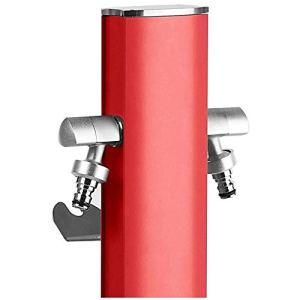 S&M Totem Colonne d'eau de jardin avec support pour 2 robinets Aquapoint, rouge