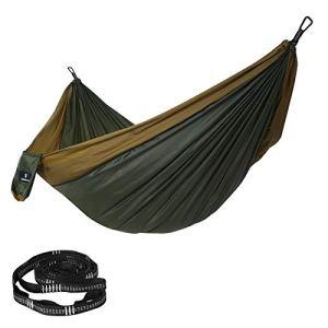 SONGMICS Ultra-léger Hamac 300 x 200 cm Siège suspendu Camping Charge max. 300 kg 2 personnes En nylon 2 sangles et 2 clips d'arbres Outdoor Voyage Excursion Randonné GDC20AC