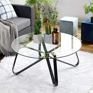 Table basse ronde en verre trempé, table basse nordique minimaliste, table d'appoint moderne, table d'appoint avec base en fer noir pour la maison, le salon, la terrasse, le jardin (80 x 80 x 40 cm)