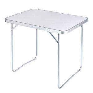 WOLTU CPT8128sg Table de Camping Table Pliante en Aluminium et MDF 80×60,5x70cm, Table de Jardin Pliante pour Pique-Nique Plage en Plein air,Blanc