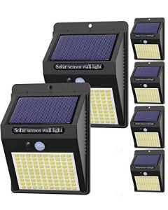 【6 Pack – 3 Mode】Lampe Solaire Extérieur, Hepside 100 LED Lumiere Solaire Exterieur étanche Projecteur Solaire avec Detecteur de Mouvement Spot Solaire Sécurité Sans Fil Applique Led pour Jardin