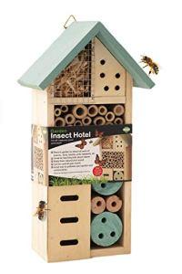 ADEPTNA Hôtel de jardin en bois pour toutes les créatures Grande et Petites – Nid pour abeilles, coléoptères, fourmis, coccinelles et toutes sortes d'insectes (petit hôtel)