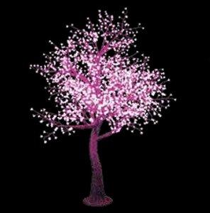 Arbre LED 2,8mètres de fleur de cerisier avec 2.120LEDs Lumière Rose, apte pour usage extérieur IP44