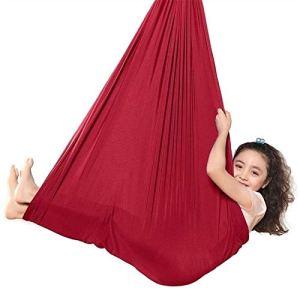 Balançoire sensorielle pour enfants avec des besoins spéciaux câlins jusqu'à 199,6 kg Aspergers et hamac élastique pour enfants intégré sensoriel (couleur : rouge, taille : 1 x 2,8 m)