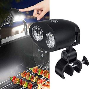 Barbecue Grill Light, 10 LED BBQ Gas Lamp, 3 Brightness Levels Adjustable, 360 ° Rotationtouch Control Resistant Heat, Handle Bar Clamp Lamp for Barbecue Camping Party