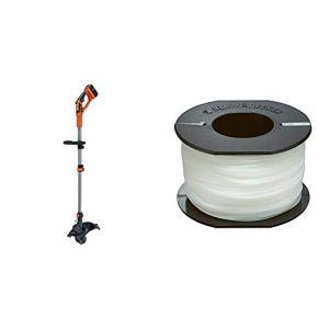 BLACK+DECKER GLC3630L20-QW Coupe-Bordures sans Fil – 2 Vitesses – 1 Batterie – Tube telescopique et 2nd poignée réglable, 36V, Orange, 30 cm & A6171-XJ Bobine 50 mètres de Fil, Transparent, 1,5 mm
