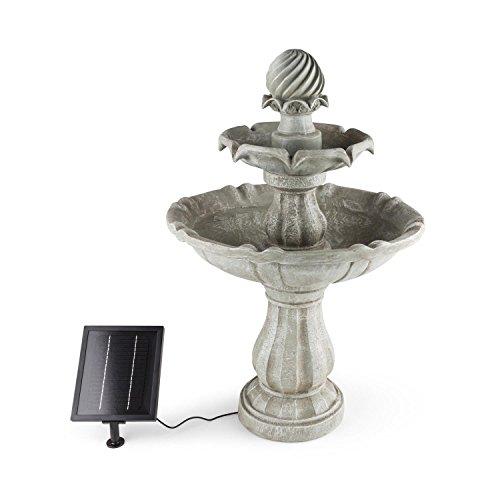blumfeldt Vogelsbrunn – Fontaine Solaire, Idéal pour décorer Votre Jardin, Panneau Solaire, 3 W, Batterie 7,4 V / 2000 mAh, 2 étages, Pompe Miniature, 250 l/h, Gris