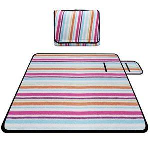 Chalpr Couverture de pique-nique en extérieur imperméable Grand tapis de pique-nique lavable 200 x 200 cm avec poignée pour le camping, la randonnée, l'herbe, la plage, la maison (multicolore)