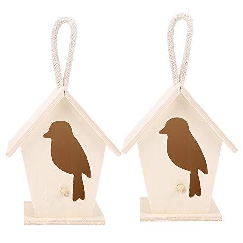 chengong Maison d'oiseau en Bois Suspendue extérieure exquise et Belle Durable, Maison d'oiseau Suspendue Peinte à la Main de 2 pièces, Lot de 3 pour Les Enfants à l'extérieur des Oiseaux de Patio