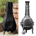 Comficent Grande Housse de cheminée imperméable et Respirante en Tissu Oxford pour extérieur de Jardin ou terrasse Noir 122 x 61 x 21 cm