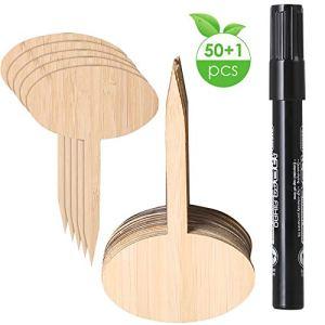 DERCLIVE Lot de 50 étiquettes de semences en bambou pour plantes et légumes, jardins, crèches, plantes avec un stylo