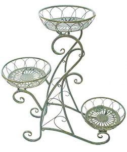East2eden Support de pot de fleurs rustique en métal 3 étages Vert