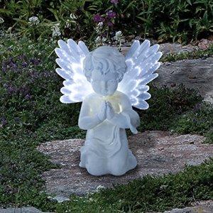 Figurine Ange Chérubin Commémoratif Lumineux Solaire Eclairage LED Blanche (Piles Incluses)