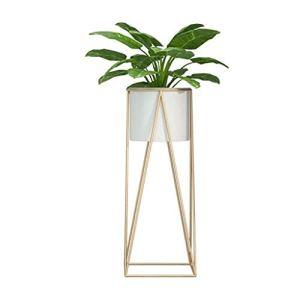 Fikujap Usine Montage Stands, Stands en métal Moderne Usine, avec Pot de Fleurs, pour Terrasse Intérieur Extérieur Patio Décoration d'intérieur,B,22×22×47cm