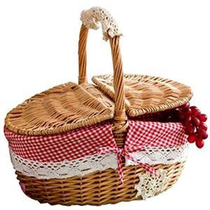 Fransande Panier en osier fabriqué à la main pour le camping, les pique-niques, les courses, le rangement et la poignée en bois