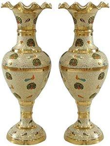 GAOYINMEI Table Basse Vase Vase Creative Simplicité Vases Salon de cuivre Pur Artisanat Ornements décoratifs Géométrie Ensemble 2 pièces d'or étage 40 * 16 * 12cm Décorations (Color : A)