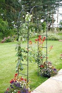 Garden Mile Grand 2.4M Noir Métal Jardin Arche résistant solide tubulaire Tonnelle pour roses plantes grimpantes soutien voûte d'entrée Décoration de jardin