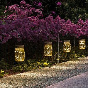 GIGALUMI Lanterne Solaire Extérieur Mason Jar Bocaux Lampes, 6 pièces 15 Led Lanterne Solaire Suspendu Extérieur Pour Jardin, pont, patio, garge et intérieur