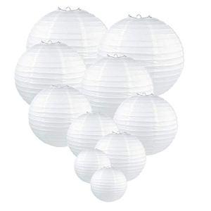 GoFriend Lot de 10lanternes en papier rondes blanches, suspensions en papier de soie, décorations d'anniversaire, décorations, de fête, de mariage, fête prénatale, tailles assorties