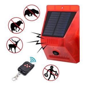 Gowsch Lumière d'alarme Solaire avec lumière stroboscopique à télécommande avec lumière de sirène de sécurité avec détecteur de Mouvement